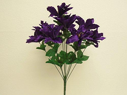 """PURPLE Passion Bush 12 Artificial Silk Flowers 21"""" Bouquet 3405PU"""