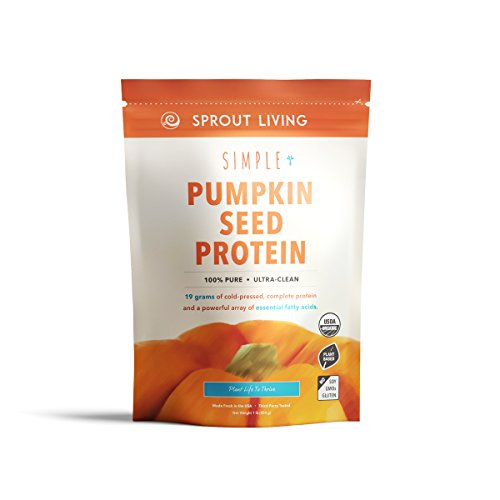 Sprout Living Simple Pumpkin Seed Protein Powder, 19 Grams Cold-Pressed Organic Plant Protein, Vegan, Gluten Free, No Dairy, No Additives (1 pound, 16 servings)