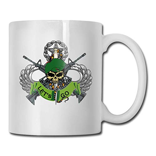 US Army Flash 10TH Special Forces Group Bad TOLZ Skull Logo Funny Novelty Gift Mug White Tea Brewing Cups