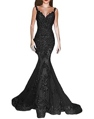 DKBridal Women's Sequins Mermaid Evening Gown V Neck Long Prom Dress