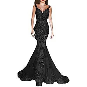 cb543679e95 DKBridal Women s Sequins Mermaid Evening Gown V Neck Long Prom Dress