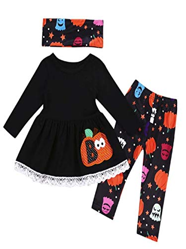 iLOOSKR Halloween Toddler Baby Girls Pattren Printing Tops Pants Scarves Clothes Outfits Set Black