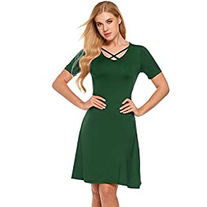 cb8409fc1c ANGVNS Women s Summer Cross Front V Neck Solid Dress Short Sleeve Casual A Line  Dress