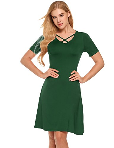 ANGVNS Women's Summer Cross Front V Neck Solid Dress Short Sleeve Casual A Line Dress