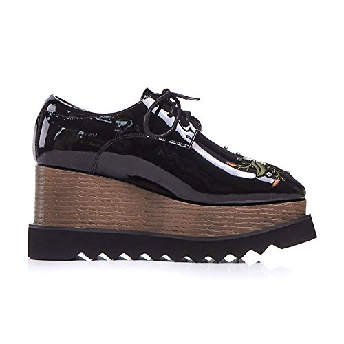 Sangles À Chaussures Baskets WSXY La Q1617 Main Croisées Plateformes Semelles KJJDE Creepers Femme Double À Broderie Black 38 vdwqqF0B