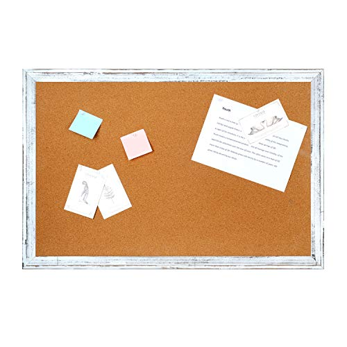 Cork Board Bulletin Board - 4 THOUGHT 48 x 36 Inches Cork Notice Pin Board Memo Board with Vintage Style White Wooden Frame for Display and Organize Home, Office and Kitchen, 4 x 3 Feet, 10 Push Pins