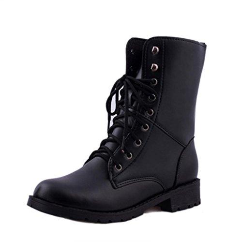 Bescita Women Men Lace up Flat Biker Military Army Combat Black Boots Shoes Size New 3.5-6