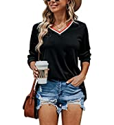 Quenteen Womens Casual Striped Collar V Neck T Shirts Long Sleeve Loose Fitting Sweatshirts Tunic...