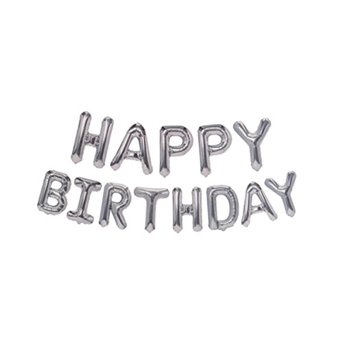 Mcolour Balloon Birthday Party 16 Inch Cute HAPPY BIRTHDAY Letters Foil Balloons (Silver Birthday Letter Balloons)