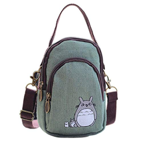 YaJaMa Canvas Zipper Multi-Pockets Small Crossbody Bags Cell Phone Purse Smartphone Wallet for Women Girls with Hand Carry (Green Totoro)