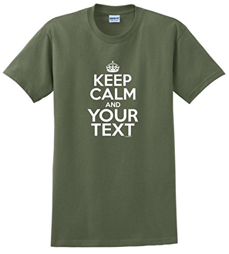 Personalized Gag Gift Personalized Keep Calm and Your Text Custom T-Shirt 2XL MlGrn