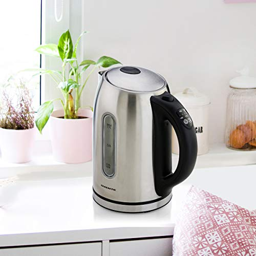 Ovente Electric Stainless Steel Hot Water Kettle 1.7 Liter with 5 Temperature Control & Concealed Heating Element, BPA-Free 1100 Watt Tea Maker with Auto Shut-Off and Keep Warm Setting, Silver KS88S