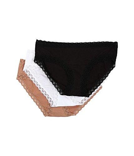 Natori Womens Panty - Natori Women's Bliss Cotton Girl Brief Panty 3-Pack 156058MP-148-S Black/Café/White Women's Medium / 10-12