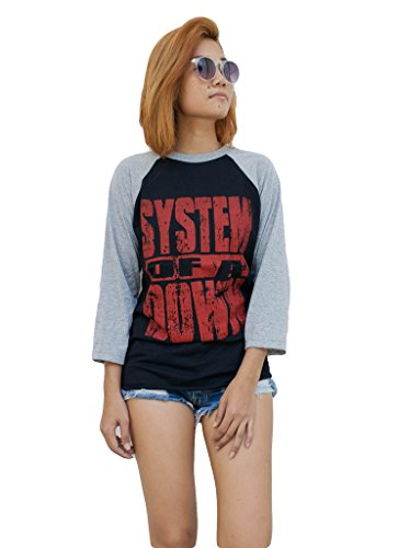 System Of A Down Raglan 3/4 Length Sleeve Baseball T-Shirt S Black -