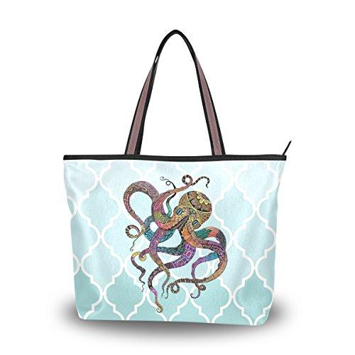 Ingbags Fashion Large Tote Shoulder Bag America Octopus Pattern Women Ladies Handbag