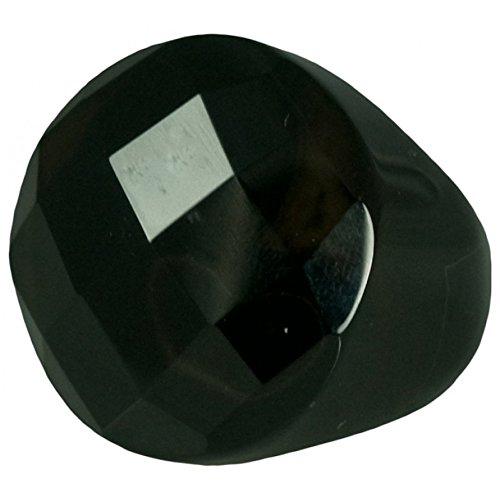 Black Agate Dome Ring - HamptonGems SEMI PRECIOUS, BLACK AGATE FACETED ROUND RING, STATEMENT!!!