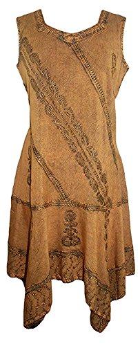Agan Traders 1015 DR Womens Gypsy Peasant Funky Asymmetrical Hem Short Dress