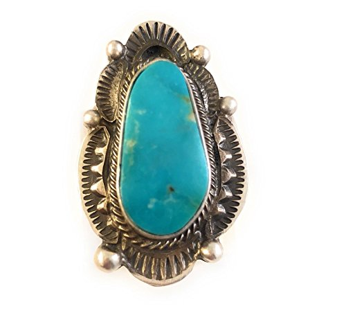Maynard Garcia Navajo Kingman Turquoise Sterling Silver Ring Size 7 Signed from Nizhoni Traders LLC
