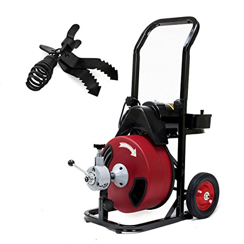 Commercial SEWER SNAKE drain auger cleaner 50 ft long 1/2'' 4 cutter foot switch by Eight24hours