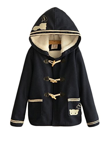 Aza Boutique Girl's Cute Cat Embroidered Tweed Hooded Fleece Coat