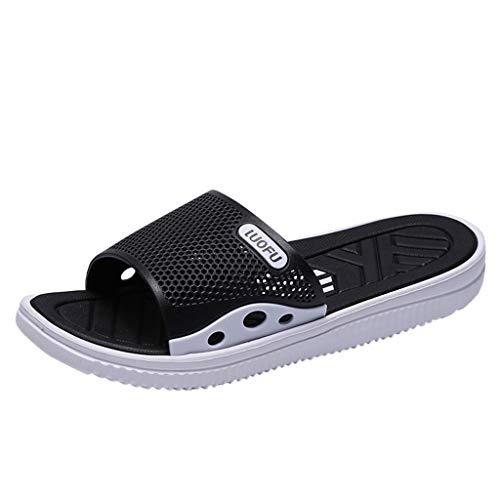 34175bcba814f Wkgre Men's Slipper Sandals Flip-Flops Anti-skidding Beach Indoors Floor  Family Classic Casual Home Shower Outdoor Shoes (9, Black)