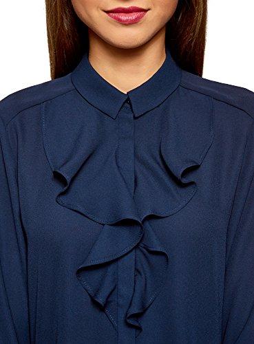 Fluide Tissu Collection 7900n en Bleu Volants oodji Chemisier Femme I1BSwxqxX