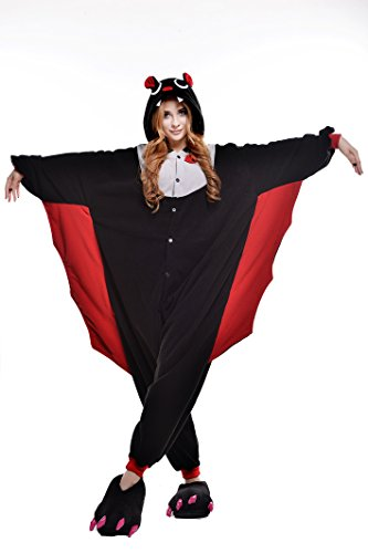 [Adult Cosplay Costume Pajamas Animal Jumpsuit Outfit Anime Makeup Partywear-Bat,S] (Makeup For A Bat Costume)