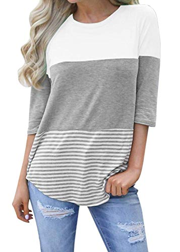 Hount Women's Color Block Tunic Tops 3/4 Sleeve T-Shirts Blouses with Striped Hem (White, Medium)