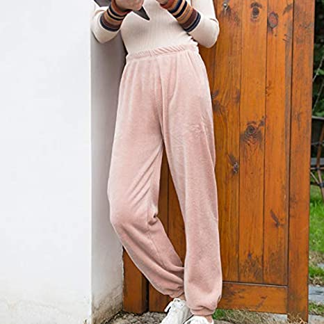 Syfinee Ultra Warm Fleece Winter Pajama Pant Soft Thick Home Casual Loose Trousers Womens Running Fleece Open Bottom Pants Zip Pockets Athletic Warm Winter Jogging Pants Adjustable Ankle Sweatpants