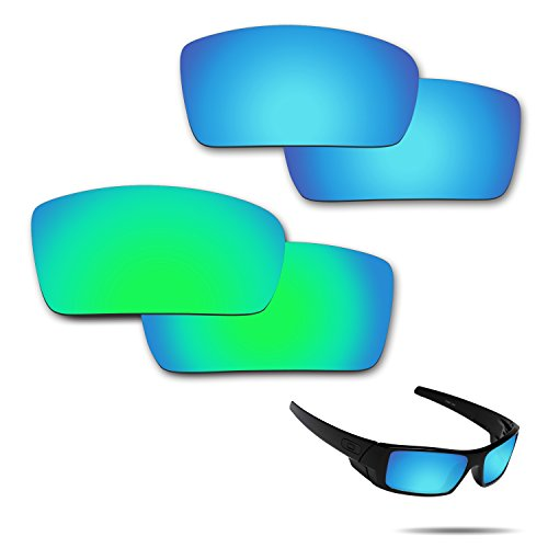 Fiskr Anti-saltwater Polarized Replacement Lenses for Oakley Gascan Sunglasses 2 Pairs Packed (Ice Blue & Emerald - Lens Oakley Care