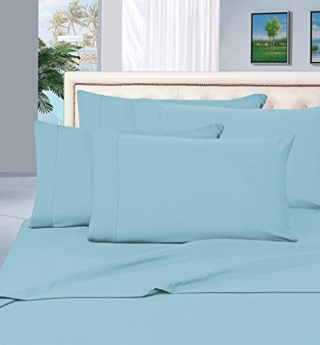 True Luxury 100% Egyptian Cotton - Genuine 1000 Thread Count 4 Piece Sheet Set- Color Light Blue, Size California King - Fits Mattress Upto 18'' Deep Pocket by Thread Spread