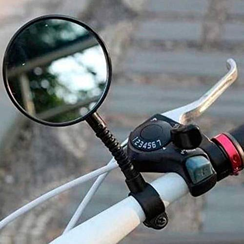 Murphytonerty 1 Pcs Rearview Mirror Bicycle Safe Adjustable Rotatable Handlebar Glass Mirror for Bike Black