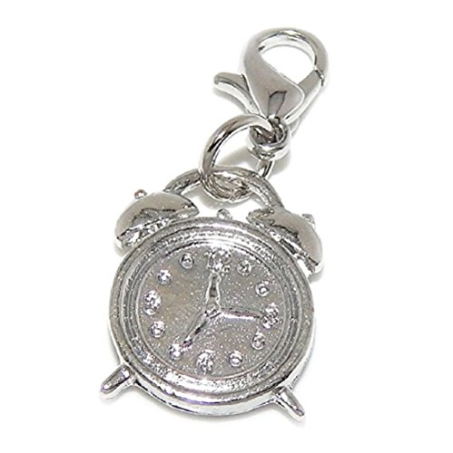 GemStorm Silver Plated Dangling Alarm Clock Clip On Lobster Clasp Charm