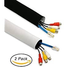Cable Management Sleeves System, Velcro Design, Black White Reversible - 2 Pack 60-Inch Cord Organizers with Wire Labels - Easy and Best for TV, Electronics at Home or Office -By HomeyHomes