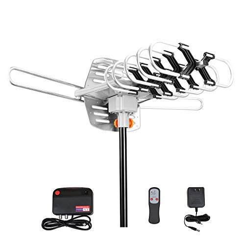 VIEWTEK Outdoor Amplified Antenna Amplified HDTV Antenna - 150 Miles Long Range - 360° Motorized Rotation - Wireless Remote (Outdoor Antenna Booster compare prices)