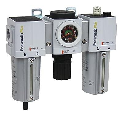 "PneumaticPlus PPC4-N06G-Q1 Compressed Air Filter Regulator Lubricator Combo 3/4"" NPT, 5 Micron, Metal Bowl, Manual Drain, Embedded Gauge (0-140 PSI)"