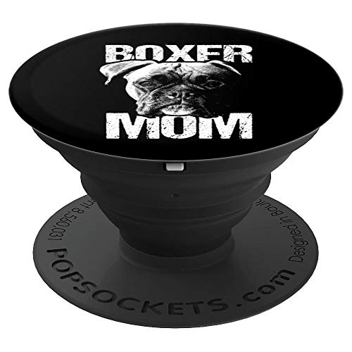 Womens Funny Boxer Mom Cute Puppy Lover Girly Pop Socket - PopSockets Grip and Stand for Phones and Tablets ()