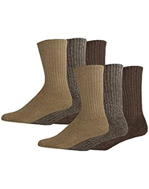 Men's Enhanced and Soft Feel Cushion Crew Socks, Khaki Asst, 6 Pair