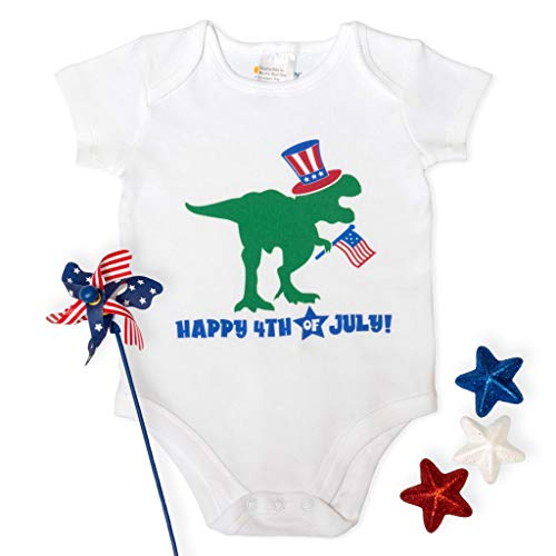 Effortless Branding Happy 4th of July Dino Bodysuit (3 Months) White (Effortless Cotton)