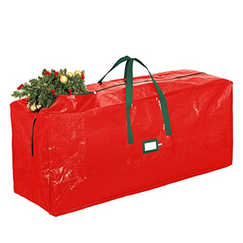Zober Extra Large Christmas Tree Bag - Artificial Christmas Tree Storage for Un-Assembled Trees up to 9' Tall with Sleek Zipper - Also Accommodates Holiday Inflatables | 65 x 15 x 30 … (Red)