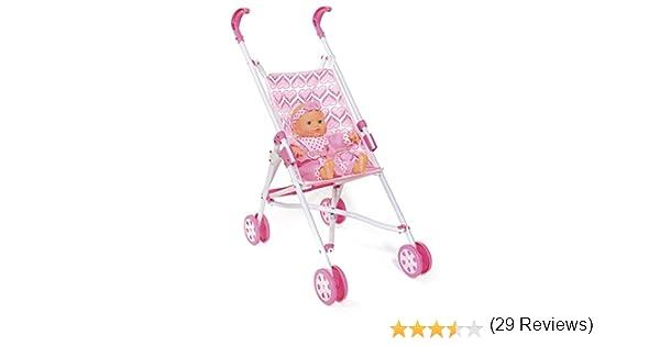 ColorBaby - Sillita paseo de pliegue de paraguas y muñeca, color rosa con corazones (43109)
