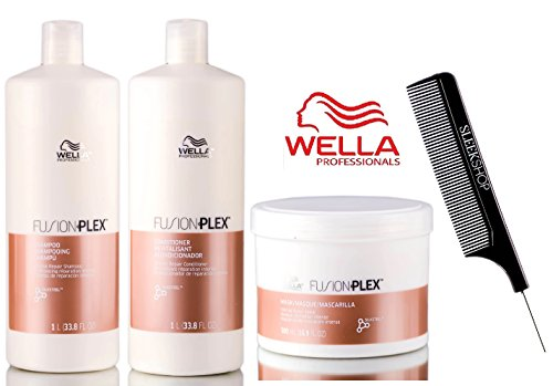 Wella FUSION PLEX Intense Repair Shampoo, Conditioner & Mask TRIO SET (with Sleek Steel Pin Tail Comb) (33.8 oz + 16.9 oz - LARGE TRIO - Shampoo Mask