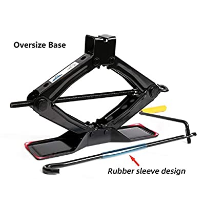 Lead Brand Black Steel Scissor Jack, 1.5 tons (3,000lbs) Capacity, Oversize Base with Crank Handle: Automotive