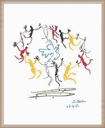 ポスター パブロ ピカソ Dance of Youth 額装品 ウッドベーシックフレーム(オフホワイト) B0031N2BJQオフホワイト