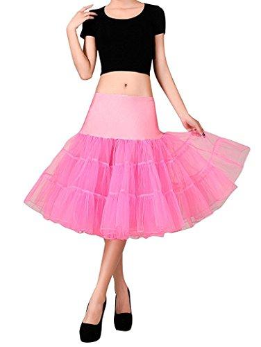 FOLOBE 50s Jupe en jupe Tutu Crinoline Underskirt Ballet d'adulte Ballet Tutu Mini-jupe en dentelle en organza 65cm / 25.6inch Waterpink