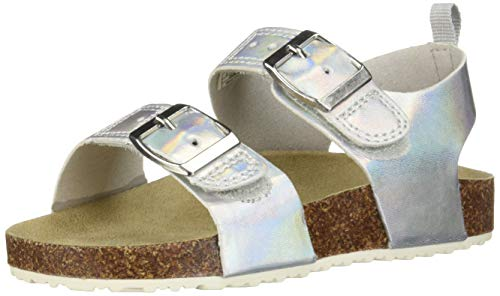 carter's Girl's Duncan Metallic Buckle Strap Sandal, Silver, 5 M US - Metallic Silver Toddler Footwear