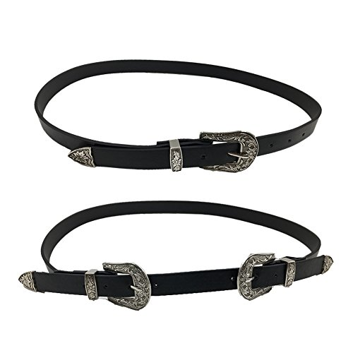 DRESHOW Vintage Belt Designer Boho Metal Western Buckle Belt for Women, 2 Pack
