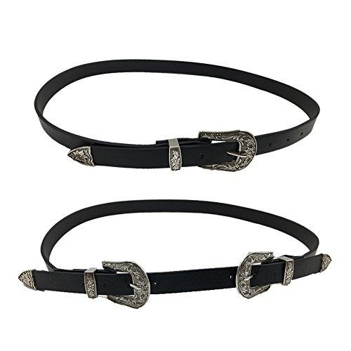 DRESHOW Vintage Belt Designer Boho Metal Western Buckle Belt for Women, 2 Pack