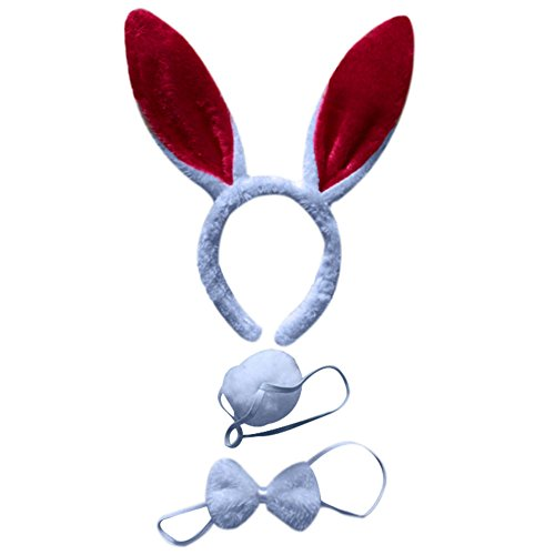 BAOBAO 3pcs Kids Rabbit Bunny Ears Headband Bow Ties Tail Set Party Cosplay (Holloween Custumes)