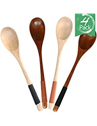 Gain 4pcs Good Grips Handmade Natural Wooden Soup Cooking Spoons,material of Nanmu,9in(003) offer